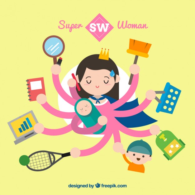 Bilde no: http://www.freepik.com/free-vector/super-woman-multitasking-illustration_832526.htm